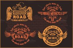 Check out Vintage motorcycle labels by Digital-Clipart on Creative Market