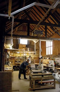 Timberframe shop. @K Kittrick, how's this for an SCA workspace? With a space for feasts or workshops and your dream kitchen?