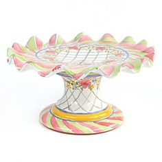 Taylor Fluted Cake Stand- Glen Park: Ceramic, hand-painted with a garland of flowers & latticework. Inspired by the century Glen Park Mansion, former home of Wells College founder Henry Wells / MacKenzie-Childs Cake Stand Decor, Cake Pop Stands, Cake And Cupcake Stand, Cupcake Cakes, Cupcake Carrier, Cakes Plus, Pedestal Cake Stand, Plate Stands, Cake Plates