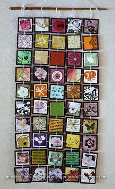 50 inchies - wall hanging by stampingmathilda, via Flickr great way to display Pocket Letter, Inchies, Art Trading Cards, Creative Textiles, Fabric Cards, Collage, Small Art, Hanging Wall Art, Woodstock