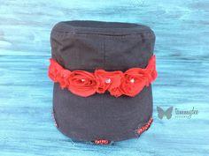 Rhinestone Cadet Hat, Rose Hat, Black Hat, Bling Hat, Military Bling Hat, Shabby Chic Hat, Distressed Hat, Vintage Hat, Red Hat, tammydee