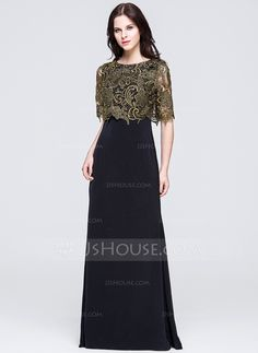 A-Line/Princess Scoop Neck Sweep Train Zipper Up Sleeves 1/2 Sleeves No 2015 Black Spring Summer Fall General Plus Lace Mother of the Bride Dress