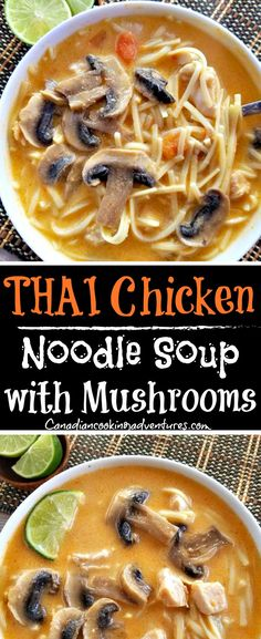Thai Chicken Noodle Soup with Mushrooms #thai #chicken #noodle #soup #mushrooms #thairecipes #foodblog