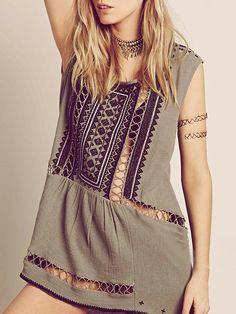 Gray Boho Cut Out Bead Embroidery Sleeveless Dress-top | Choies