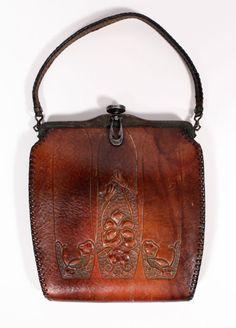 "vintage old cluch purses   Fabulous Antique Art Nouveau Tooled Leather Purse, Jemco ""Turnloc ..."