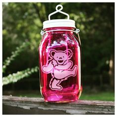 Grateful Dead Dancing Bear Etched on a Dark Pink by ScarletBGonias
