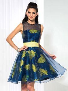 Ericdress Round Neck A-Line Print Cocktail Dress