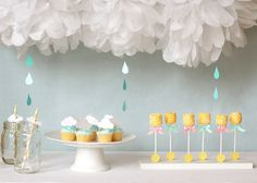 Would make a sweet baby shower table set up.