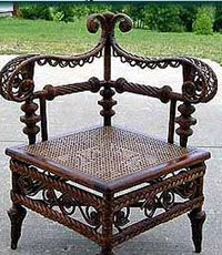 ~ Antique Wicker Corner Chair ~