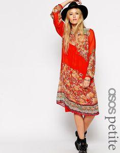 ASOS PETITE Midi Swing Dress in Boho Print