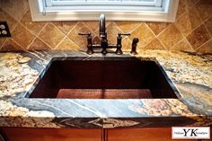 Magma Gold Granite-leatheredLaminate-book matched flat/eased polish edgeSingle bowl u/m copper sinkLeathered surfacePowder room. Red Cabinets, Kitchen Cabinets Decor, Kitchen Redo, Kitchen Sinks, Kitchen Remodel, Kitchen Ideas, Gold Kitchen, Granite Kitchen, Kitchen Countertops