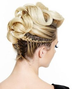A long blonde straight coloured sculptured plaited updo multi-tonal hairstyle by Web Collections
