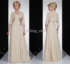 Wholesale Mother of the Bride - Buy Best Selling a Line Sweetheart Floor Length Champagne Chiffon 3 4 Sleeve Jacket Beach Mother of the Bridal Evening Dresses Beads Sequins, $108.0 | DHgate