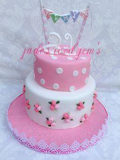 21st birthday cal Pink birthday cake Roses birthday cake Bunting birthday cake Vintage birthday cake Shabby chic birthday cake