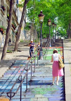 The stairs of Montmartre, Rue Foyaltier, Paris. #Montmartre #Paris