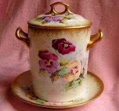 Antique Victorian LIMOGES FRANCE Hand Painted PANSY Condensed Milk Jar Plate Set