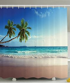 Seascape Sunbeds Balcony White Wooden Windows Shower Curtain Extra Long 84 Inch