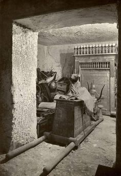 Treasury of Tutankhamun, 1926, by Harry Burton Burton's photograph of the treasury, a small room off the burial chamber in the tomb of Tutankhamun, is a classic image of discovery.