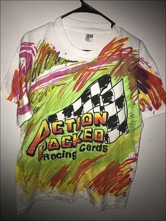 Vintage 90's NASCAR Action Packed Trading Cards Double Sided Shirt - Size Large by RackRaidersVtg on Etsy