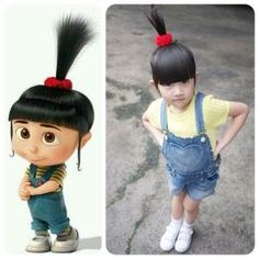 Agnes Costume (Despicable Me): overalls, yellow striped shirt, red hair scrunchie