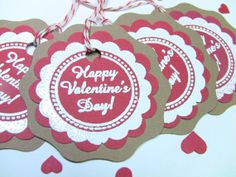 4 Handmade Valentines Gift Tags Hand Embossed Valentine by zuCards, $3.00