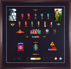 Medal Display Case-Military Medals With Ribbons, Patches, And Ph
