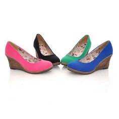 Round toe candy-color fabric wedge heel shoes pink_Pumps_Womens Shoes_Cheap Clothes,Cheap Shoes Online,Wholesale Shoes,Clothing On lovelywholesale.com - LovelyWholesale.com