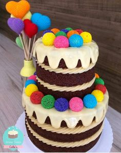 Adorable cake with rainbow colors. Cute Cakes, Yummy Cakes, Beautiful Cakes, Amazing Cakes, Bolos Naked Cake, Making Sweets, Bolo Cake, Gateaux Cake, Novelty Cakes