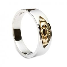 Sterling Silver Mens Claddagh Ring With A Yellow Gold Center