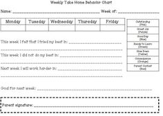 Clip Chart Behavior Management - weekly report