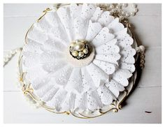 "Doily Wreath Tutorial - The Cottage Market - The tutorial is actually for a small ""Christmas"" ornament but I think it could be done for Spring, Easter or Valentine's Day and in lots of different sizes."