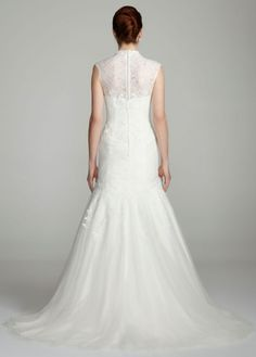 Cap Sleeve Fit-and-Flare Lace Gown - Melissa Sweet for David's Bridal - back