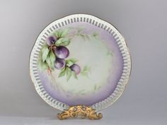 Vintage Fruit Decor Plate with Handpainted Purple Plums by PeriodElegance, www.PeriodElegance.etsy.com