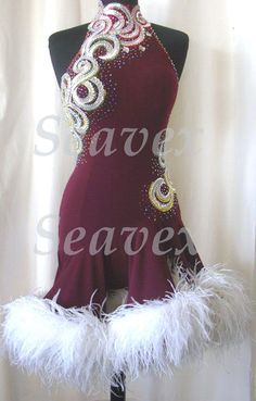 3077K Feather fur Ballroom lady latin salsa chacha samba rumba dance dress UK 12