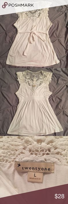 Back Lace Women's Shirt Low cut top with soft lace and crochet detail front/back. Made in the USA  Forever 21 Tops Blouses