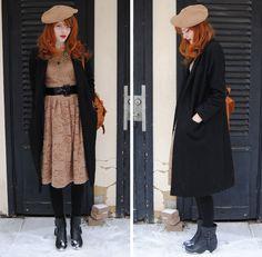 Cosette Munch - Humana Second Hand Beret, Choies Lace Dress, Romwe Multi Chain Necklace, Long Black Buttonless Coat, Black Boots - Atomic Bomb