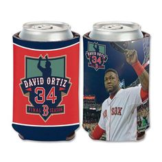 Boston Red Sox David Ortiz (Big Papi ) Final Season 12 0z Can and bottle Cooler. Foam insulated can and bottle cooler that fold up for travel keep your cold one cool with the Boston Red Sox and David