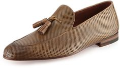 Magnanni for Neiman Marcus Perforated Leather Tassel Loafer, Tan