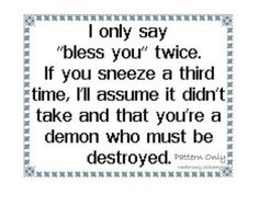 PERFECT!!!!  Funny Cross Stitch Pattern, Instant download, PATTERN ONLY Bless You - Heather Scott