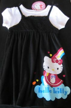 Kids Clothes Hello Kitty Infant Cotton Dress 24M Black Character T-Shirt Dress