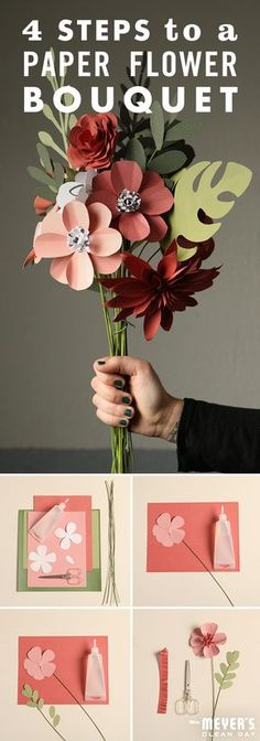 Brighten up any room with this paper flower bouquet DIY. To start, draw flower and leaf shapes on craft paper — no need to worry if they don't look perfect. Next, cut the shapes out and glue them on f(Diy Flower Drawing) Flower Bouquet Diy, Diy Flowers, Paper Flowers, Drawing Flowers, Wedding Flowers, Flowers Vase, Wedding Bouquet, Flower Drawings, Paper Bouquet Diy