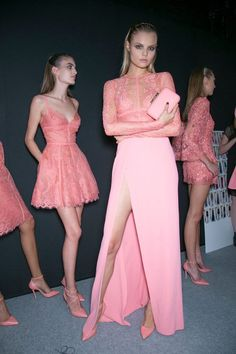 Elie Saab. Love how the ombre is the same colour as her shoes and thighs.