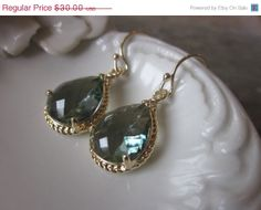 Charcoal Gray Earrings Gold Teardrop Earrings, $30
