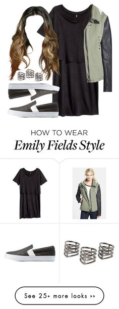 """Emily Fields inspired outfit with army/leather jacket"" by liarsstyle on Polyvore featuring H&M, Miss Me, Charlotte Russe, MANGO, school, weekend, college and mid"