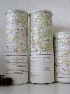 Perfect storage for craft room/office: its Pringles cans wrapped in USGS Maps