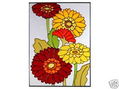 10x14 Stained Art Glass GERBERA DAISY Flower Suncatcher