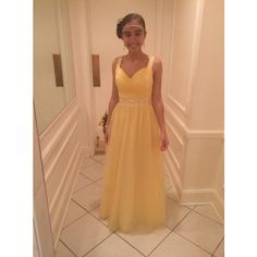 Simple-dress Sweetheart Beading Floor-length Yellow Tulle Prom... (275 BAM) ❤ liked on Polyvore featuring dresses, tulle prom dresses, beige dress, yellow cocktail dress, prom dresses and yellow dress