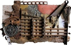 """Title: Just Because - #051401 Size: 40"""" x 26"""" x 4"""" Medium: reclaimed and vintage wood, metal and material on wood. This listing is for the original vintage industrial art assemblage. To construct my p"""