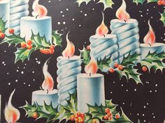 Vintage Christmas Gift Wrapping Paper  Blue by TheGOOSEandTheHOUND