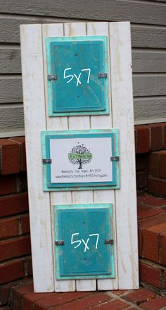 5x7 Triple Picture Frame - Distressed Wood - Holds 3 - 5x7 Pictures - White, Seafoam and Aqua